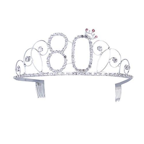 Frcolor Corona Cumpleaños 80 Años Diadema Cumpleaños Mujer Tiara Cristal con Peines (Plata)