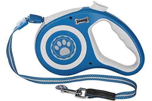 Zoofari Ausziehleine Aufrollfunktion Leine Hund Blau Weiß 5m 12 kg