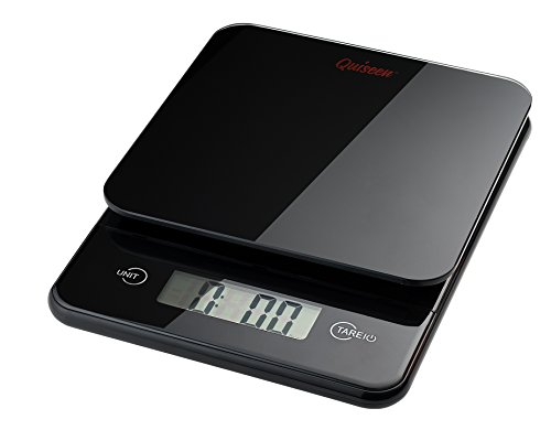 Quiseen Compact Digital Kitchen Food Scale - 11lbs / 5kg Capacity (Black) by Quiseen