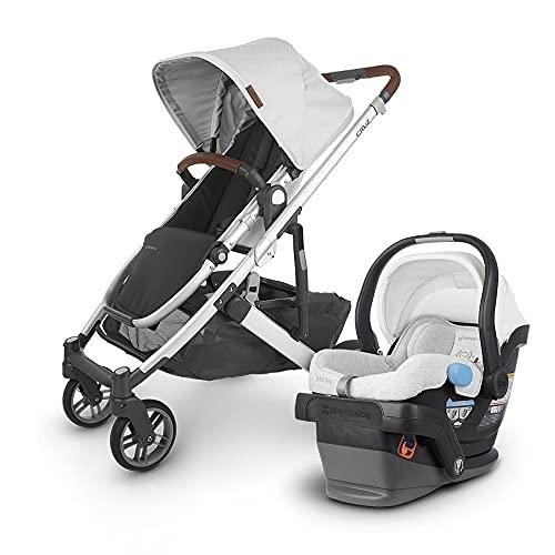 UPPAbaby Cruz V2 Stroller - Bryce (White Marl/Silver/Chestnut Leather) + Mesa Infant Car Seat - Bryce (White Marl)