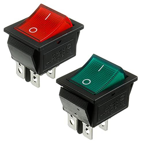 BOJACK 2 posiciones Interruptor basculante de ON/OFF DPST 4 pines 250V / 6A, 125V / 10A luces LED verdes y rojas KCD2-202N-R (paquete de 2)