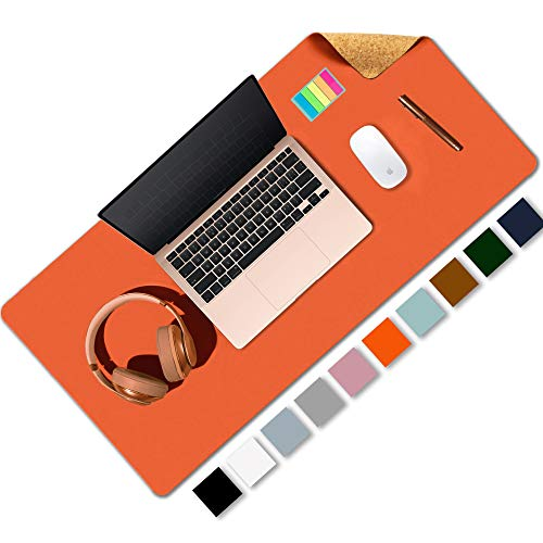 """Aothia Office Desk Pad, Natural Cork & PU Leather Dual Side Large Mouse Pad, Laptop Desk Table Protector Writing Mat Easy Clean Waterproof for Office Work/Home/Decor (Orange,31.5"""" x 15.7"""")"""