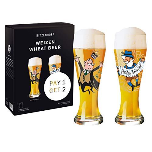 RITZENHOFF 6071001 - Juego de vasos para cerveza de trigo (cristal, 645 ml)
