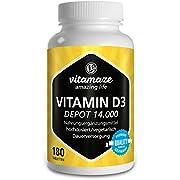 Vitamin D3 Depot 14.000 IE pro Tablette hochdosiert & vegetarisch (14-Tage-Dosis), 180 Tabletten (teilbar), Natürliche Nahrungsergänzung ohne Zusatzstoffe, Made in Germany
