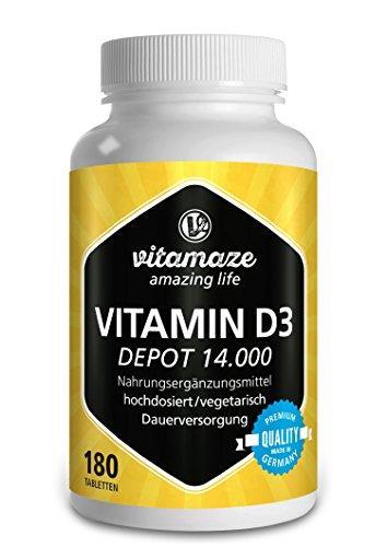 Vitamaze® Vitamin D3 Depot 14.000 IE pro Tablette hochdosiert (14-Tage-Dosis), 180 vegetarische Tabletten (teilbar), Qualitätsprodukt-Made-in-Germany ohne Magnesiumstearat