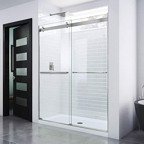 DreamLine Essence Frameless Bypass Sliding Shower Door in Brushed Nickel, 56-60 in Width, 76 in Height, 5/16 in. (8 mm) Certified Clear Tempered Glass, Smooth Gliding Open and Close. SHDR-6360760-04