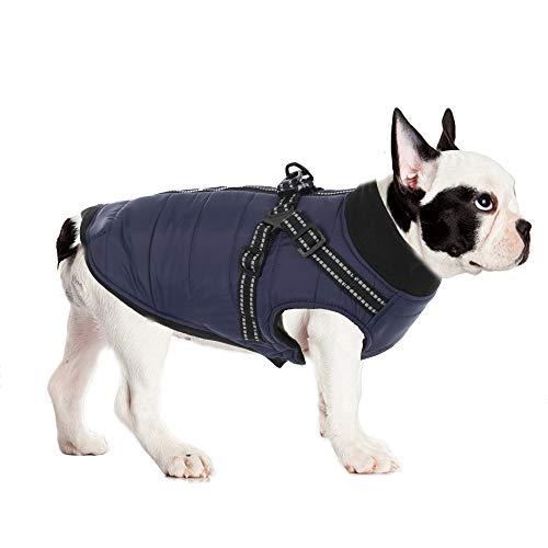 ubest Winter Hundemantel mit Hundegeschirr, Baumwolle Gefütterte Hundejacke Warm Winterjacke Wintermantel für Kleine Hunde, Blau, XL