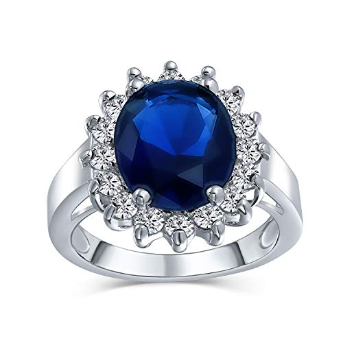 Bling Jewelry 5Ct Royal Azul Oval Simulado Zirconio Cúbico CZ Corona Engrane Halo para Anillo Mujer Banda Latón Chapados En Plata