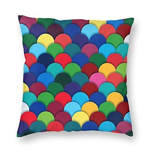 Nixboser Funda de almohada de poliéster con diseño de arco iris, diseño redondo, sin costuras, para decoración del hogar, para sofá, sala de estar, cama, coche, tamaño de 50 x 50 cm