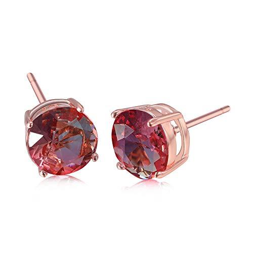 Pendientes De Cristal Pendientes De Turmalina Roja Y Verde Con Diamantes Redondos De Cuatro Garras De Oro Rosa, Pendientes Para Hombres Y Mujeres, Joyería