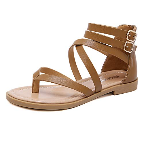 SHIBEVER Women Gladiator Sandals Summer Beach Thong Flat Roman Flip Flops Shoes...