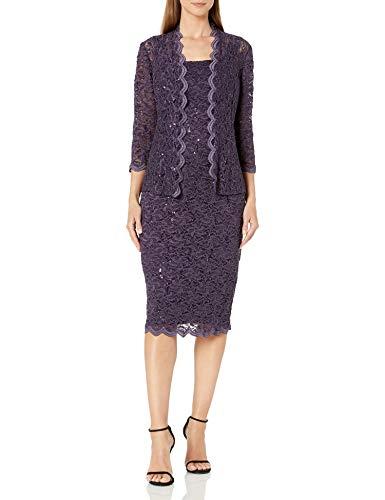 Alex Evenings Women's Tea Length Dress and Jacket (Petite and Regular Sizes), Eggplant, 14P (Apparel)