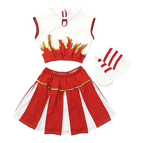 FEESHOW Kids Girls' Cheer Leader Costume Uniform Cheerleading Outfit Role Play Costume Dress-up Set Red 12-14