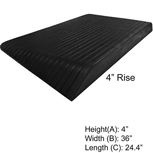 "Electriduct 4"" Rise Rubber Power Wheelchair Scooter Threshold Ramp"