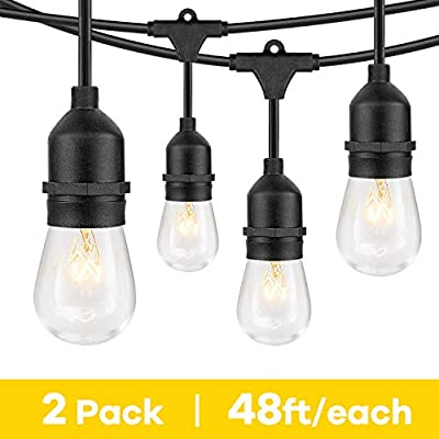 48 ft 2 Packs Outdoor String Lights with Waterproof 11W Edison 2700K Warm White Vintage Bulbs, 96ft Totally 15 Sockets, Commercial Grade Dimmable Linkable Hanging String Lights for Patio