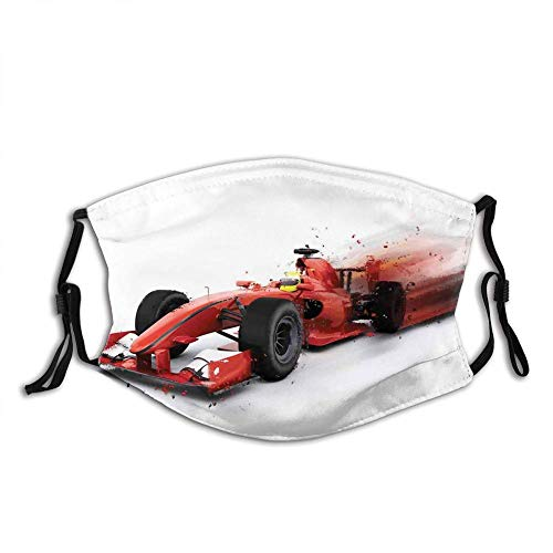 YESPTONRY LESKETH Comfortable Windproof Face cover,Generic Formula 1 Racing Car Illustration with Special Effect Turbo Motion Auto Print,Printed Facial Decorations for unisex