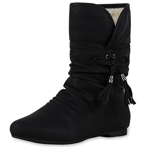 SCARPE VITA Warm Gefütterte Damen Stiefeletten Schlupfstiefel Flache Boots 150583 Schwarz 40