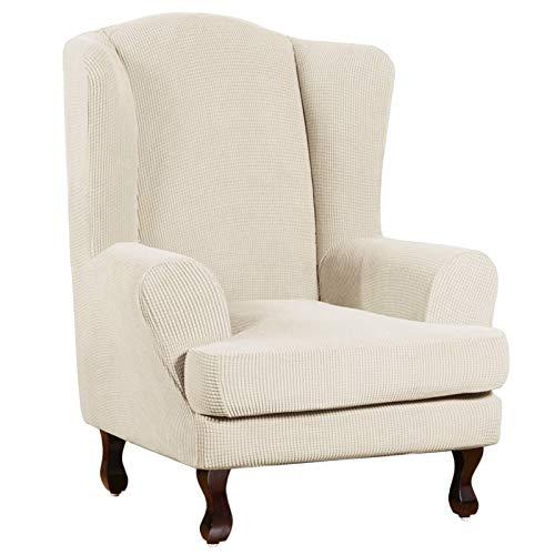 XDKS - Funda para silla de ala (2 unidades), diseño de jacquard, color beige