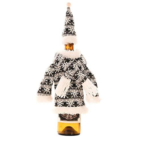 Makluce Kerstmis wijnfles afdekking decoratie flessenovertrek met gebreide sjaal hoed kleding geschenk boutique voor thuis keuken vakantie party tafeldecoratie geschenkverpakking decent