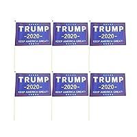 ABOOFAN 20Pcsドナルドトランプ大統領2020は、アメリカの偉大なミニ旗のバナーを手に持ってパーティーパレード選挙の青のためにスティックに小さなミニチュアドナルドトランプの旗を保持します