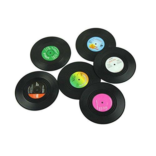 SODIAL 6pieces / Set Spinning retro del disco de vinilo bebidas Posavasos Mat