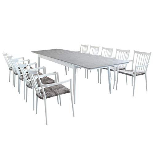 Milani Home s.r.l.s. Set Tavolo E Sedie da Giardino per Esterno in Alluminio E Polywood Cm 200/300 X 90 X 76 H con 10 Sedute Colore Bianco,Grigio Chiaro