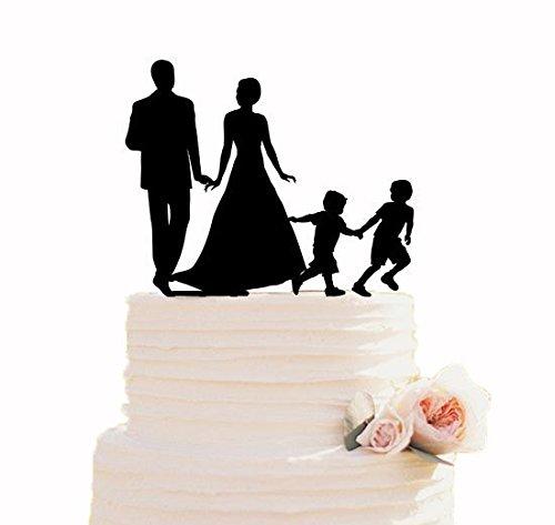 Decoración para tarta de boda con diseño de silueta de niños y 2 figuras personalizadas para decoración de tartas