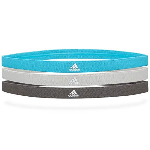 Adidas Sports Hair Bands - Grey, Grey, Signal Cyan (3 Pack)