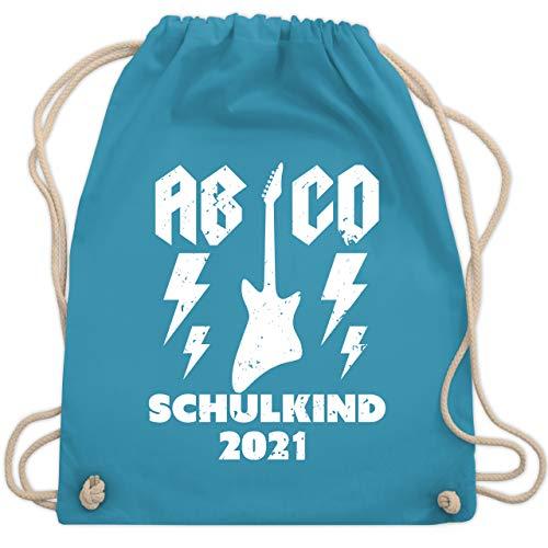 Shirtracer Schulkind Einschulung und Schulanfang - AB CD Schulkind 2021 Gitarre - Unisize - Hellblau - WM110 - WM110 - Turnbeutel und Stoffbeutel aus Baumwolle
