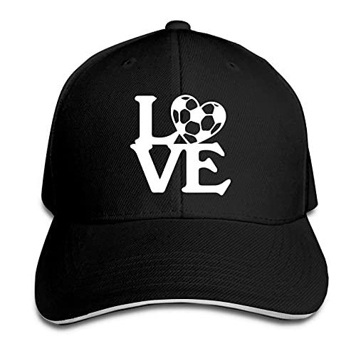 XCNGG Gorra para Hombres y Mujeres, Love Soccer Gorra Tipo sándwich con Pico Ajustable Casquette Sombrero de Vaquero