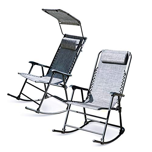 Foldable Zero Gravity Rocking Patio Lounge Recliner Outdoor Garden Chair Gray (Without Canopy)