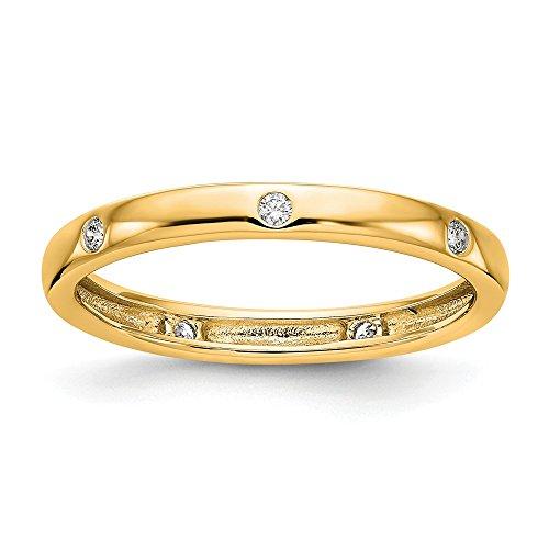 Solid 14k Yellow Gold 1/10CT Bezel Set Diamond Anniversary Wedding Band Eternity Ring Size 7 (0.1 Ct Diamond Bezel)