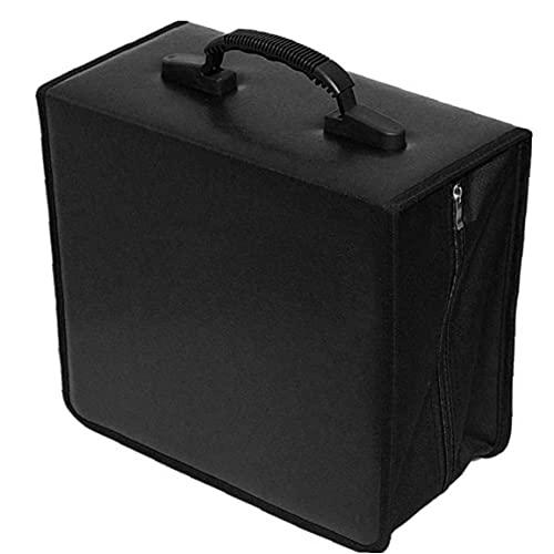 NiceCore CD CD Holder Caja De La Carpeta De DVD DVD Carpeta del Organizador del Almacenaje del Bolso De La PU del Álbum 400 Capacidad Portátil con La Manija Blackstorage Box