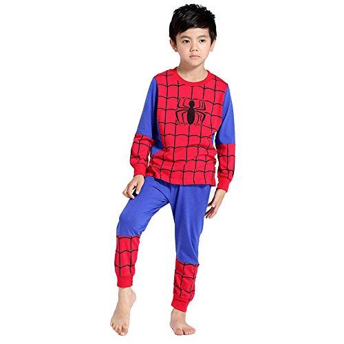 Chicos Pantalones de Pijama de Hombre araña para niños de 3 a 9 años de Edad los niños de Algodon de Manga Larga con puño elástico (7-130cm)
