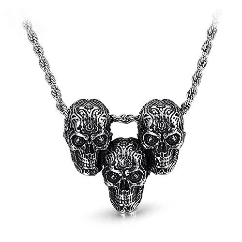 Collar Hombre Personalizado,Collar de tres cabezas de calavera para hombre, Hiphop, cultura callejera, titanio, acero inoxidable, collar de moda, joyería para hombre