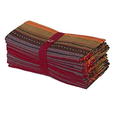 Cotton Craft 12 Pack Salsa Stripes Oversized Dinner Napkins - Red Multi - Size 20x20-100% Cotton - Tailored with mitered corners and a generous hem - Easy care machine wash