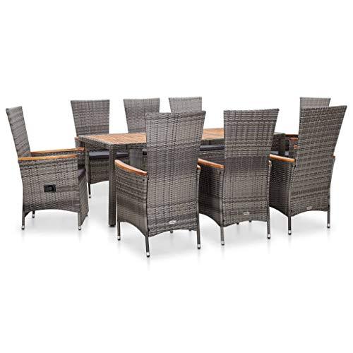 vidaXL 9 Piece Garden Dining Set with Grey Synthetic Rattan Cushions