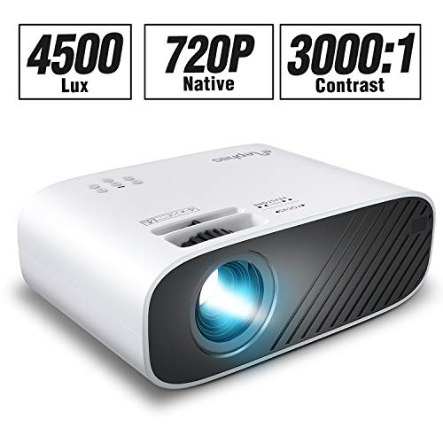 ELEPHAS 2020 Mini Movie Projector, 4500 LUX Full HD 1080P Video Projector, with 50, 000 Hours LED Lamp Life and 200' Display, Compatible with USB/HDMI/VGA/Laptop/iPhone/TV Stick/TF Card