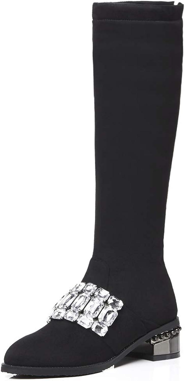 Luis Vuis Women Almond Toe Knee High Boots Chunky Heel Zipper Boots