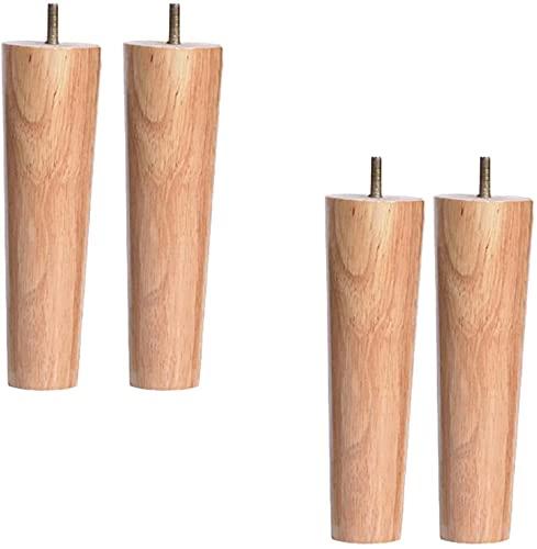 4 Unids Piernas de madera de madera de caucho sólido, piernas de sofá de repuesto, patas de silla de mesa, pies de gabinete, pies de cocina, patas de mesa de escritorio de barra de tv, con bolt m10,