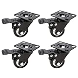 DINGGUANGHE-CUP Rotelle Piatte PU Ruote 4pcs Ruote Heavy Duty 2/1,5 Pollici Pneumatico Caster Wheels No Noise Ruote Piastra Superiore S7# 5 Uso Multiplo (Size : F 2)