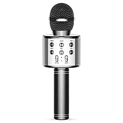Wireless Bluetooth Karaoke Microphone,4 in 1 Portable Handheld Karaoke Mic Speaker Machine,Home KTV Player
