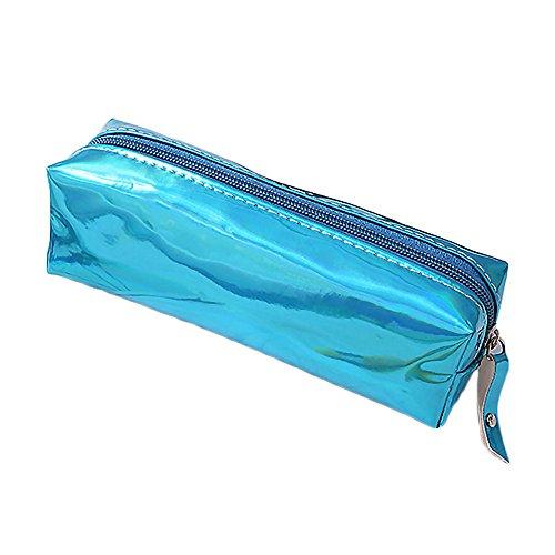 DUBENS Make Up Beutel Pinseltasche Schule Mäppchen Stifttasche Hologramm-Federmäppchen mit Reißverschluss, Bonbonfarbenes Laser-durchsichtig Kosmetiktasche Tüte Kulturbeutel (Blau)