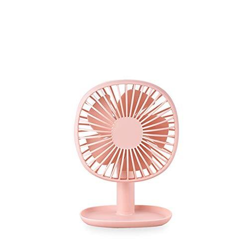 Rayber Mini ventilador USB rosa de mano Abs USB ventilador con base de bandeja, pequeño ángulo de ajuste de 60 °, mini ventilador para casa, escritorio, dormitorio