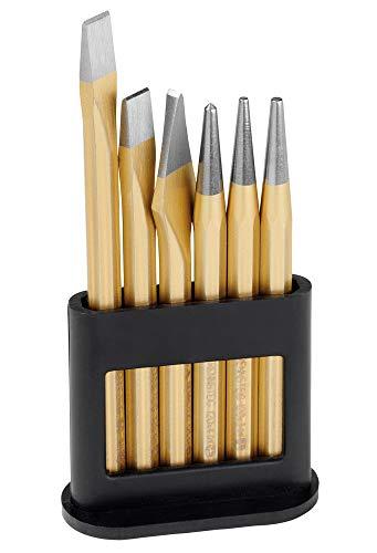 Rennsteig 421 000 0 Werkzeugsatz im Kunststoff-Halter (6tlg, 2xFlachmeißel, 1xKreuzmeißel, 1xKörner, 2xDurchtreiber)