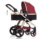 LYP Triciclo Bebé Trolley Trike Cochecito de bebé, Carro de niños de Alto Paisaje, caminor de bebé de Cuatro Estaciones, Carrito de Dos Ruedas bebé (Color : Wine Red)