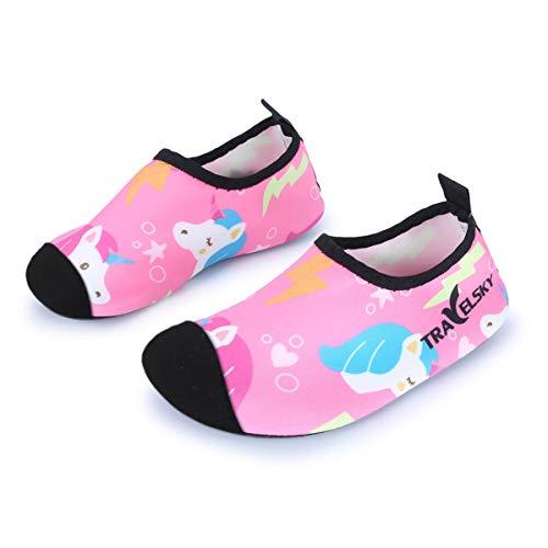 JOINFREE Niños Niñas Nadar Zapatos para el Agua Deportes acuáticos Calcetines Zapatillas Zapatos para la Piscina (Unicornio Rosa,24-25)