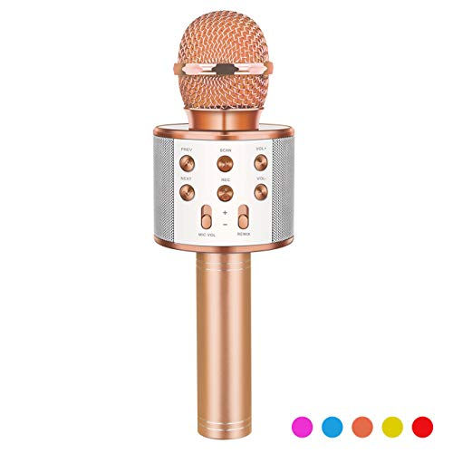 Toys for 3-12 Year Old Boys Girls, Fricon Portable Bluetooth Wireless Microphone Karaoke Machine with Speaker for Kids Age 5-10 Birthday Gifts for 3-12 Year Old Boys Teen Girls (Champagne)