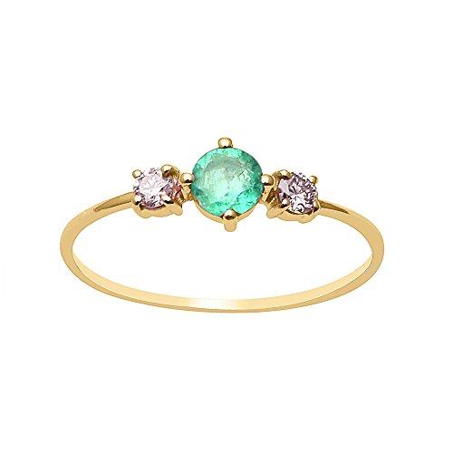 Shine Jewel Anillo de facetas de oro amarillo de 14 quilates con diamantes de talla redonda y diamantes de talla joya brillantes para mujer P Redondo Esmeralda Oro