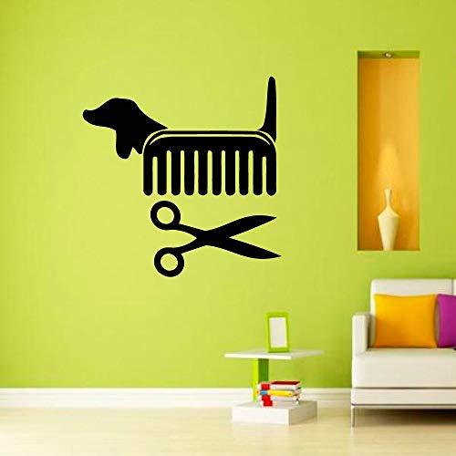 Tianpengyuanshuai creatieve muursticker pet Shop zwart schaar hond kam muursticker afneembaar vinyl decoratie 36 x 36 cm